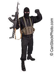 terrorista, pretas, uniforme, máscara, Kalashnikov,...