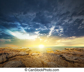 Sunset sky and tropical sea at dusk - Panoramic dramatic...