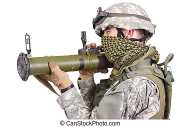 US soldier with anti-tank rocket launcher on white...
