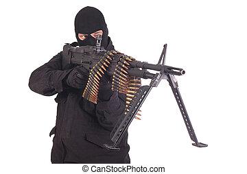 mercenary, pretas, uniformes, máquina, arma