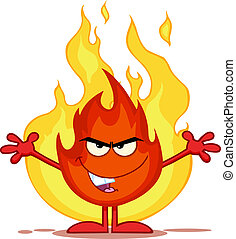 Evil Fire Character With Open Arms