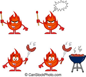 Flame Character 2. Collection Set - Flame Cartoon Mascot...