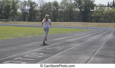 training for event - in sportswear, urban stadium runs girl,...
