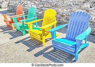 Colorful Adirondack Chairs - Brightly colored adirondack...