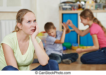 parenting and family problem - exhausted mother frustrated...