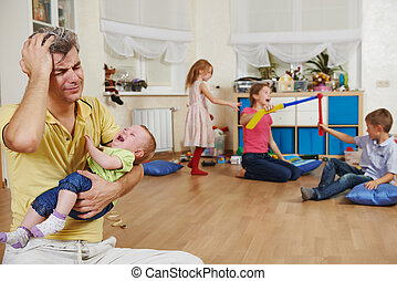 parenting family problem - male parent in stress or...
