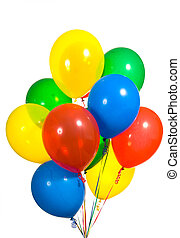 Assorted Balloons - Primary color ballons arranged in a...