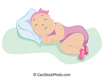 Baby girl in sweet dreams, vector illustration