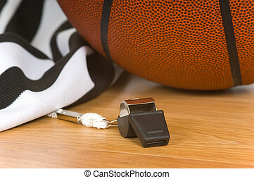 Referee Items - Basketball referee items icluding a whistle,...