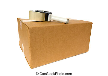 Shipping Box with a tape gun on top on white background,...