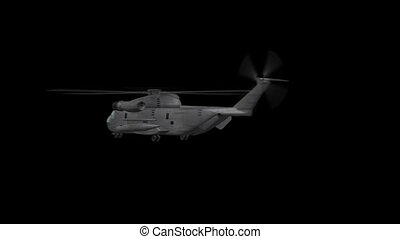 Ch-53 Helicopter Rotates - 3D animation of Military...