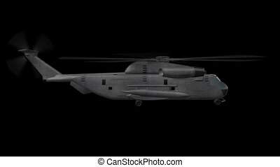 Ch-53 Helicopter Hovering - 3D animation of Military...