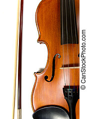 Violin and bow on white - A violin or fiddle and bow on...