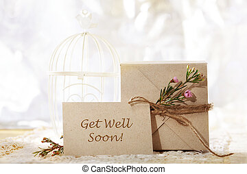 Get Well Soon hand crafted card and present box - Get Well...