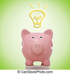 Piggy Bank with Idea Lightbulbs - Piggy Bank with Idea Light...