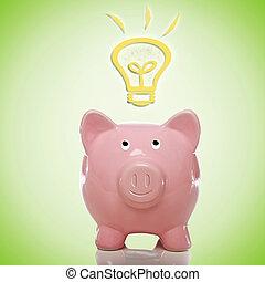 Piggy Bank with Idea Lightbulbs - Piggy Bank with Idea Light...