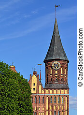 Koenigsberg Cathedral. Symbol of Kaliningrad, Russia - Tower...
