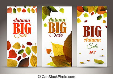 Fresh natural fall vertical banners with leafs and sample...
