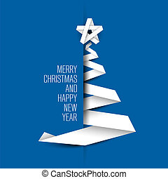 Simple blue vector card with christmas tree made from paper...