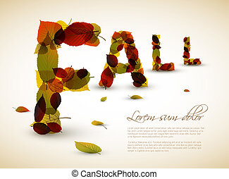 Vector fall lettering illustration made from colorful leafs