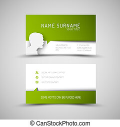 Modern simple green business card template with user profile...