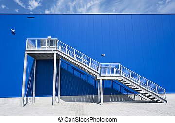 Galvanized Industrial Stairs Fire Escape Blue Panels Wall