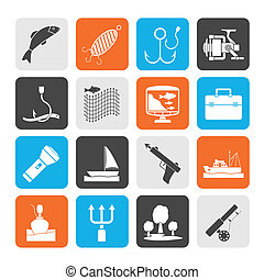 Fishing industry icons - Silhouette Fishing industry icons -...