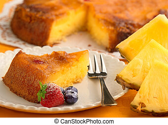 piece of pineapple cake and fresh pineapple