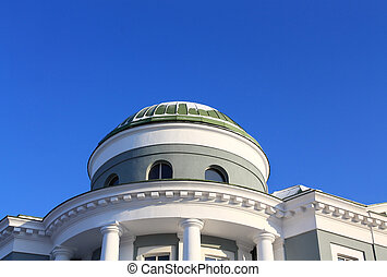 Rotunda - Top of the building with decorative columns and a...