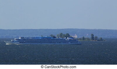 River cruise ship sailing on the river Dnieper, Ukraine,...