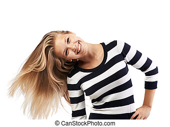 girl in a striped sweater twists hair - beautiful girl in a...
