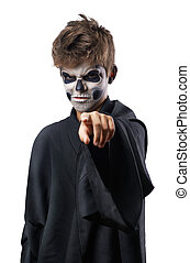 Teen with makeup skull points finger - Teen with makeup...