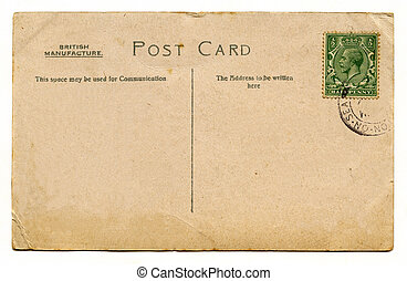 Vintage Post Card - A vintage postcard over a plain white...