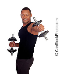 Handsome muscled man training with dumbbells isolated on a...
