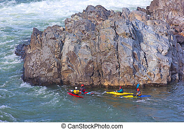 Kayaking on Potomac river in Great Falls National Park in...