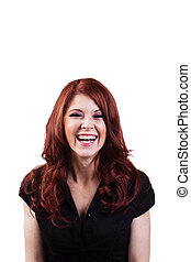 Laughing Redheaded Caucasian Woman Black Top Portrait -...