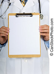 Doctor holding clipboard - Doctor or physician holding a...