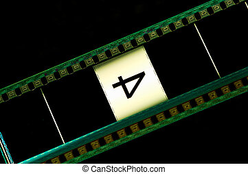 Filmstrip - Motion picture header with number 4 on black...