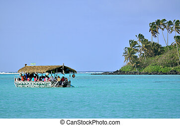 Tourist boat over Muri Lagoon Rarotonga Cook Islands -...