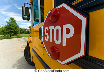 School bus stop sign - Wide angle view of schol bus stop...