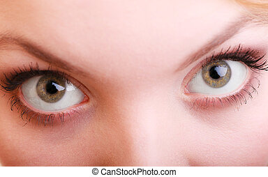 Part of face female eyes Blonde girl wide eyed - Part of...