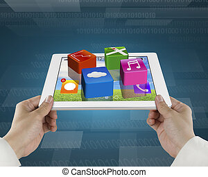 man fingers hold smart pad with apps and tech digital...