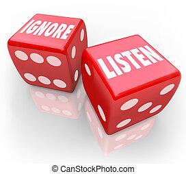 escutar, vs, Ignore, 2, vermelho, dados, palavras, Pagar,...