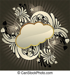 Funky cloud - Urban retro styled funky cloud with space for...