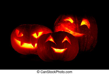 Halloween pumpkins - Illuminated cute halloweens pumpkin...