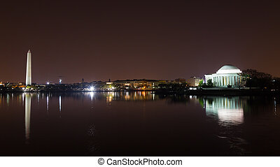 Washington DC city skyline at night - Washington Monument...