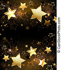 Background with golden stars - Black background decorated...