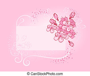 banner with flowering cherry