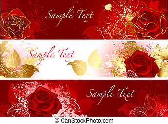 banner with red roses - Three horizontal banners with red...