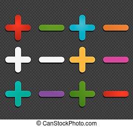 colorful plus minus labels